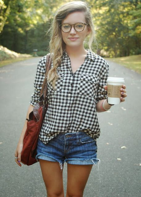Jean Shorts Girls Trendy Hair Cuts Gingham Shirts Easy Summer Outfit Summer Outfits ...