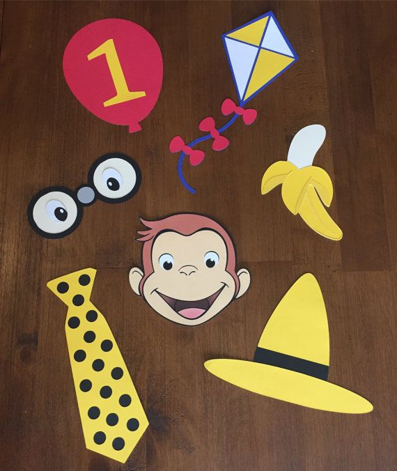 Hi! Welcome to Monroe & Co.s Etsy Shop!  Are you throwing a Curious George themed party? Why not add a little sparkle to the event with these adorable props!  *Need them in a different color? Just leave a note at checkout with your colors!*  Props are made from textured cardstock. The wooden dowels are 12 inches long.  The prop set includes:  • Curious George Prop • Yellow Hat Prop • Binoculars Prop • Kite Prop • Balloon with Age Prop • Polka Dot Tie Prop • Banana Prop • 7 Wooden Dowels  ...