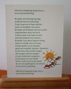 gebedskaart met het zonnelied: heel de schepping zingt voor U