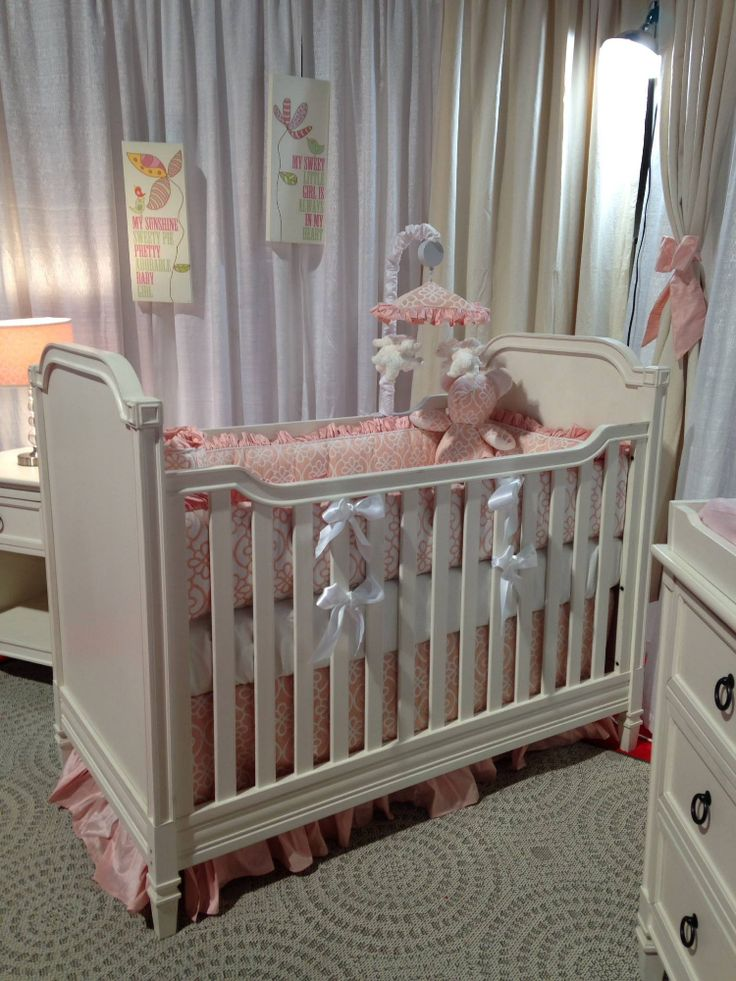Pink Silk And Floral Crib Bedding On The Brand New Brixy Haven Collection  Featuring The Cottage Crib In White Linen