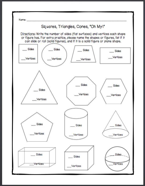 Flat Shapes Worksheets For Kindergarten