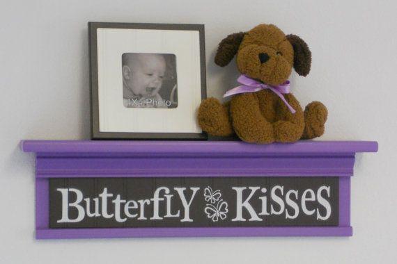 "Butterfly Kisses - Sign on 24"" Lilac Shelf - Children Wall Art Purple Butterflies Nursery Decor"