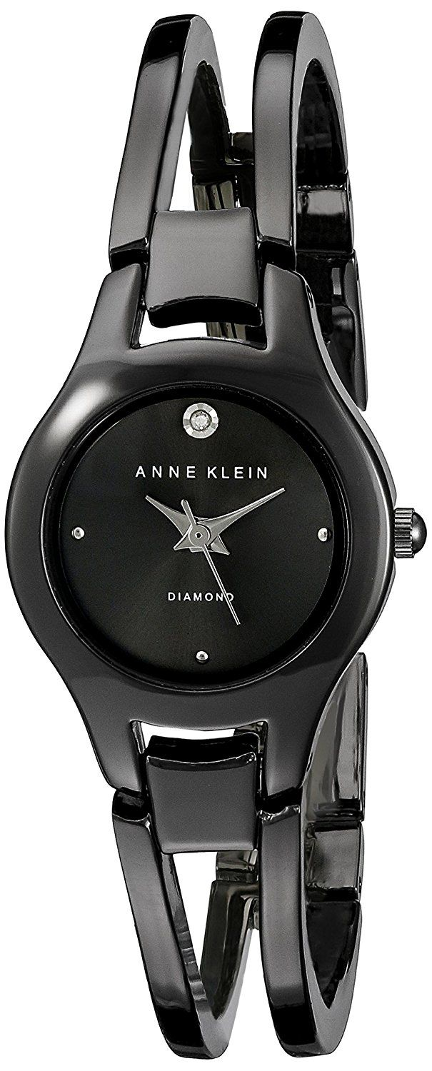 Anne Klein Women's AK/1915GYGY Diamond-Accented Gunmetal Bangle Watch *** Visit the image link more details.