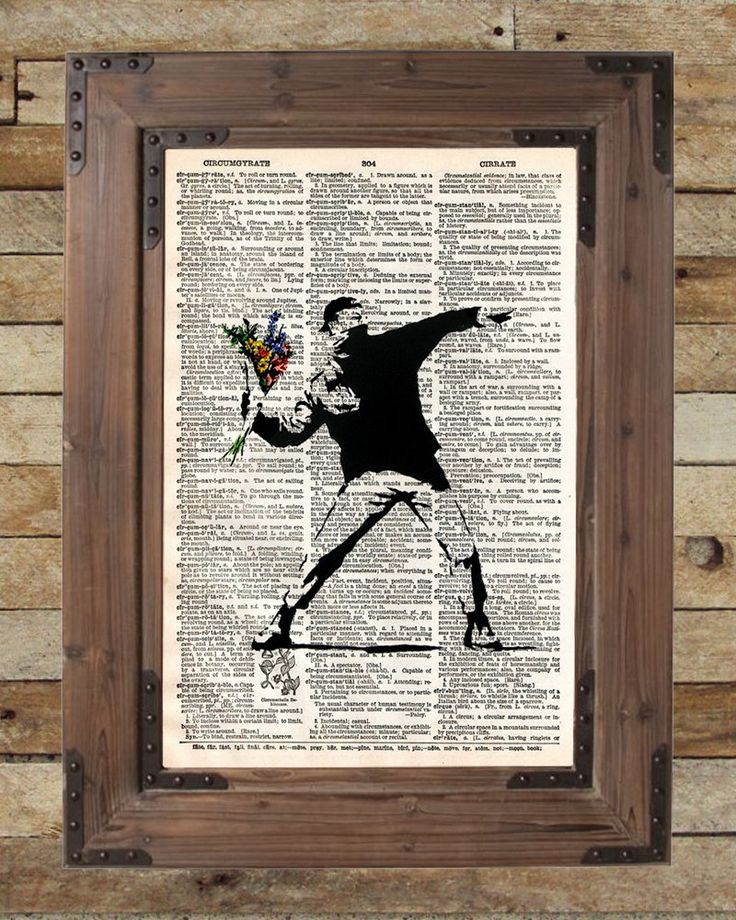 Banksy flower bomber, molotov cocktail, silhouette art, dictionary page art. Banksy Flower Bomber art print Print of acclaimed street artist Banksy, thought provoking and powerful. These unique and original artwork are printed on authentic vintage early 1900's dictionary paper from books i have rescued from booksellers who decided they were in unworthy condition and destined for destruction. Note: Items do NOT come in a frame. This is just the print. You will not be getting this exact...