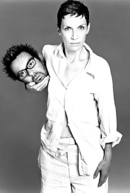 Eurythmics, Annie Lennox, art photography, clever!   Love how she is looking like there is nothing weird about the fact she is holding someone's head!