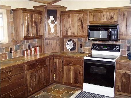 Rustic Black Walnut Cabinets - Rustic Style Custom Kitchen - Curio Cabinets - Cabinet Hardware