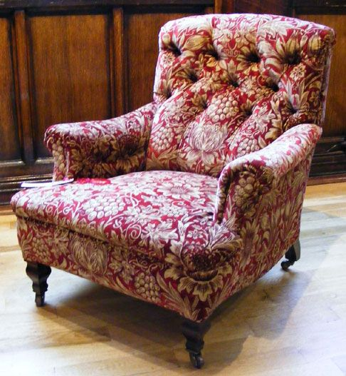 Morris & Co. upholstered armchair    Morris & Company upholstered arm chair. Designed by George Jack  Circa 1890  Upholstered in Morris & Co Sunflower by Sanderson
