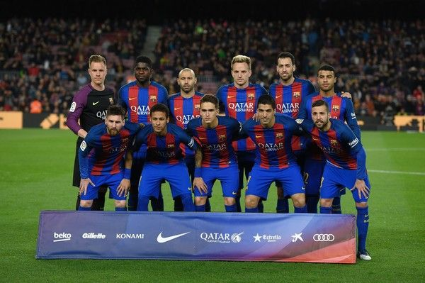 (From left) Barcelona's players, (back row) German goalkeeper Marc-Andre Ter Stegen, French defender Samuel Umtiti, Argentinian defender Javier Mascherano, Croatian midfielder Ivan Rakitic, midfielder Sergio Busquets, Brazilian midfielder Rafinha and (front row) Argentinian forward Lionel Messi, Brazilian forward Neymar, midfielder Denis Suarez, Uruguayan forward Luis Suarez and defender Jordi Alba pose before the Spanish league football match FC Barcelona vs Real Sporting de Gijon at the…