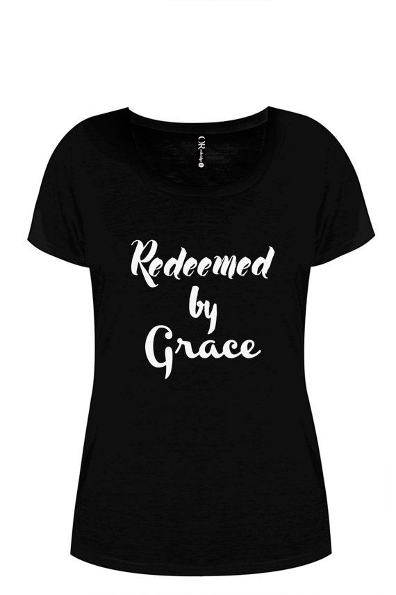 Redeemed by Grace Ladies black fitted t-shirt by ToastStationery