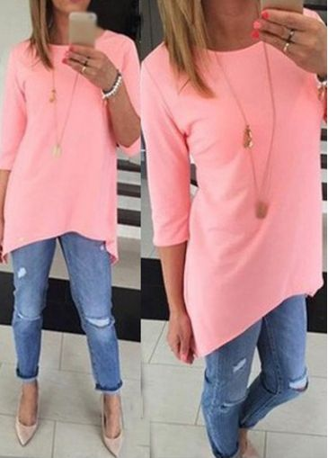 Asymmetric Round Neck Pink T Shirt on sale only US$24.48 now, buy cheap Asymmetric Round Neck Pink T Shirt at lulugal.com