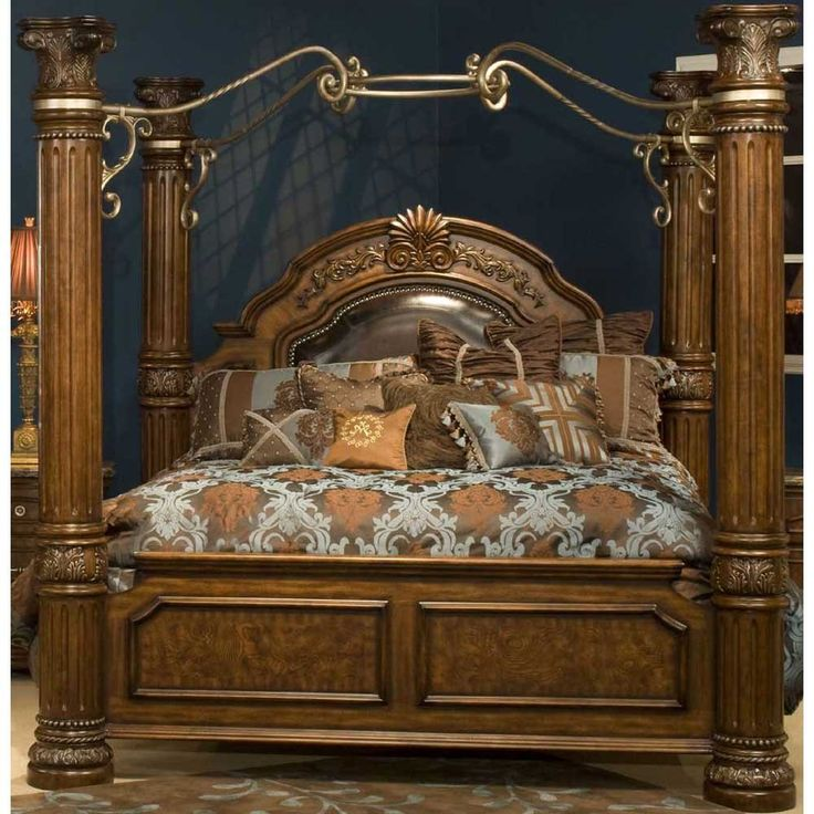 aico monte carlo ii cafe noir king canopy bed ai n53000k 46 4 for the home bed. Black Bedroom Furniture Sets. Home Design Ideas