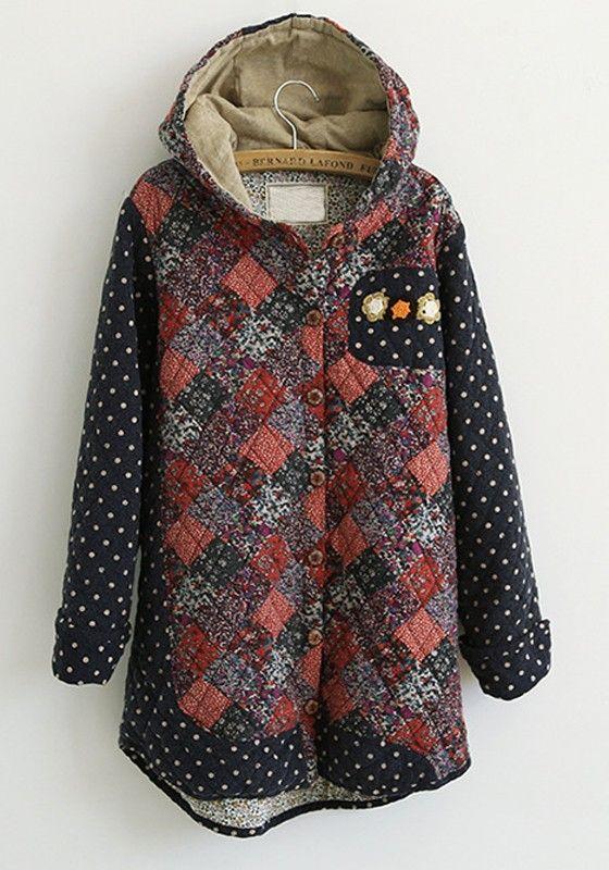Patchwork Floral Hoodie Jacket