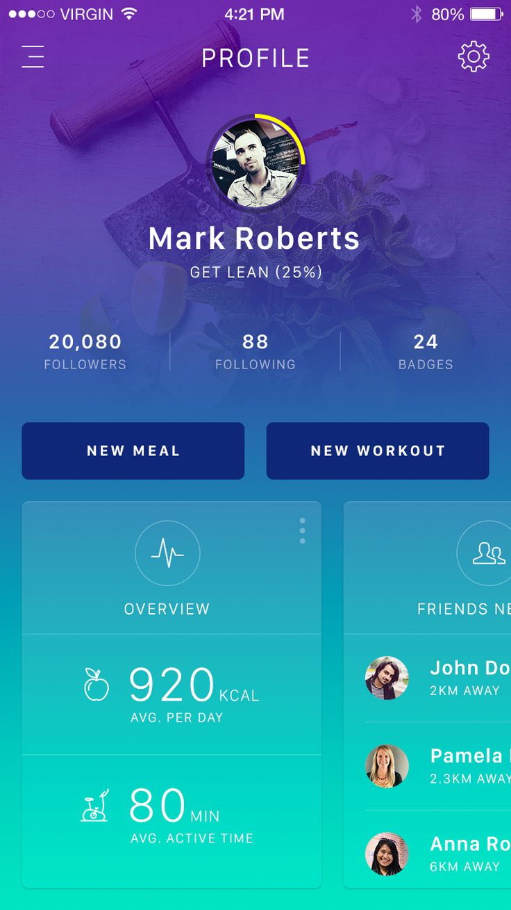 Fitness App Profile / Ionut Zamfir #dashboard #cards
