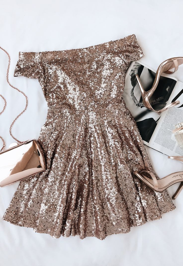 9d7a952f8a97 Dazzle Darling Rose Gold Sequin Off-the-Shoulder Skater Dress in ...