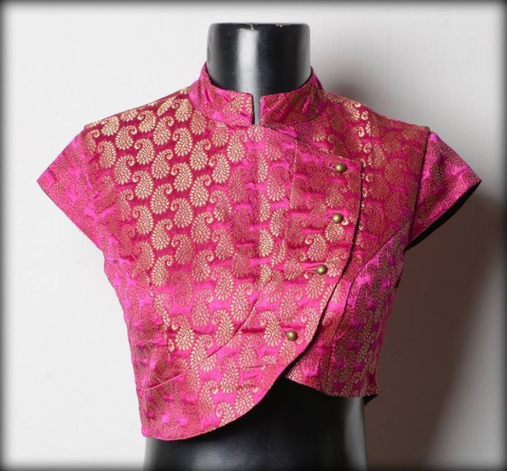Jamewar Collared Saree Blouse Design