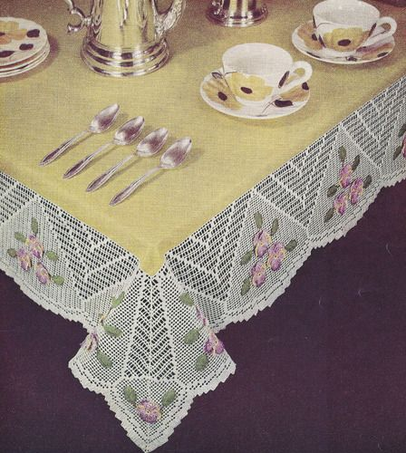 Vintage Crochet Pattern Pansy Flower Filet Tablecloth PansyFiletTablecloth