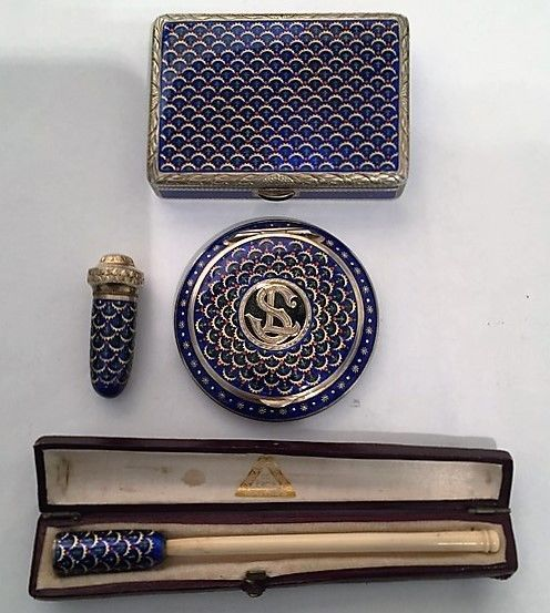 BEAUTIFUL ENAMEL SUITE SILVER COMPACTS, BOXES & ENAMEL AUSTRIAN CIRCA 1920 #Compacts