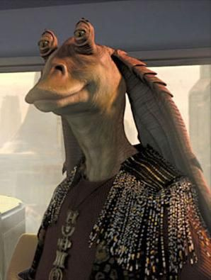 This is JarJar Binks Senator from the Chommell Sector. Once an outcast from Gungan society he regained favor with his people by helping secure an alliance between the Gungan boss Rugor Nass and Queen Padmé Amidala of Naboo.