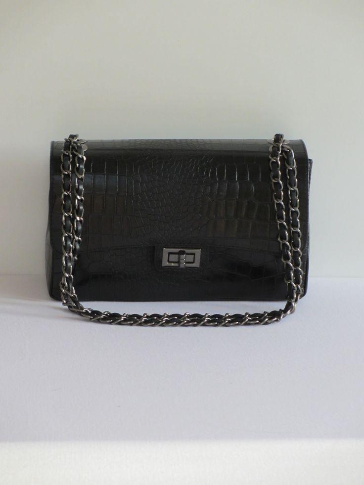 New Apparel lederen tas Croco textuur zwart 89,00