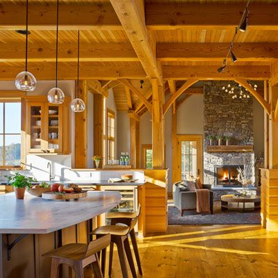 Thislight-filled and spacioushome isa modern takeon Vermont. TruexCullins Interiors usedelegant lighting, customfurnishings, naturalmaterials and carefully placed colors to createthis perfe...