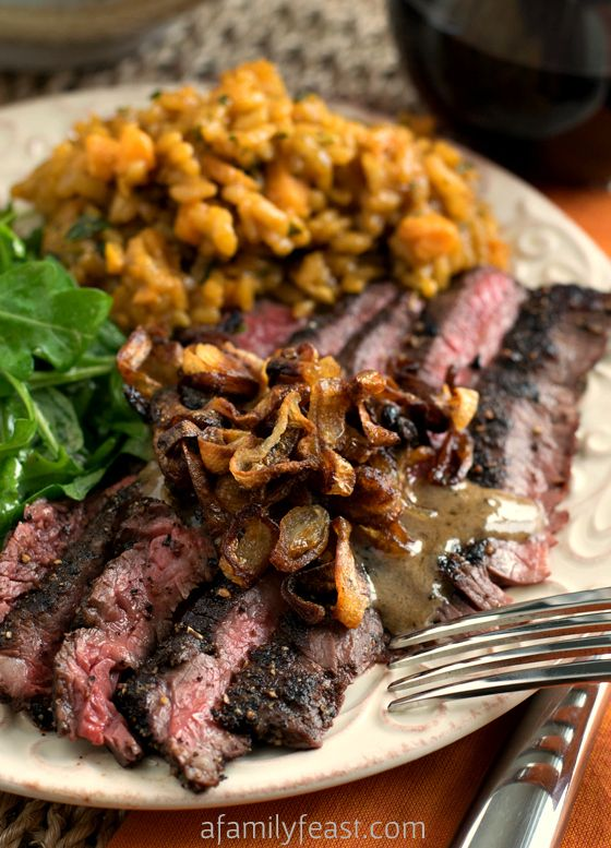 Steak au Poivre with Crispy Shallots - Perfect for a special Valentine's meal or other special occasion! Tender peppercorn encrusted steak with caramelized, crispy shallots and a wonderful cognac sauce. OMG - this is delicious!