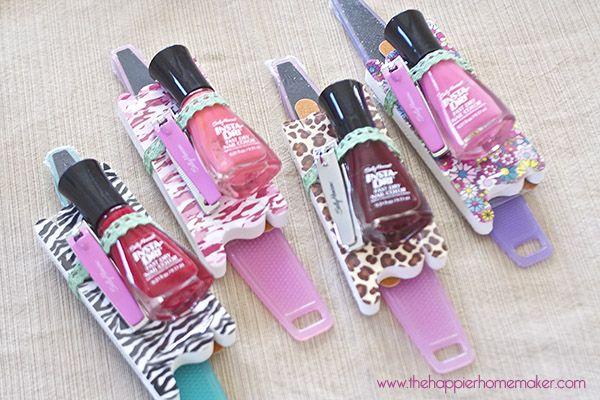 Cute favor--Sally Hansen Foot File, emery board, toe separators, nail polish, and nail clippers