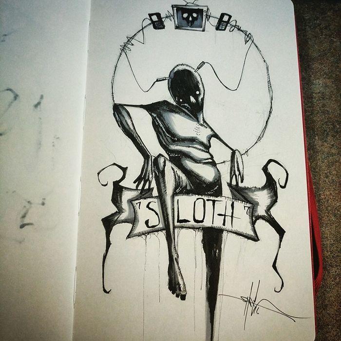 Les sept péchés capitaux illustrés avec obscurité par un dessinateur qui brise les tabous
