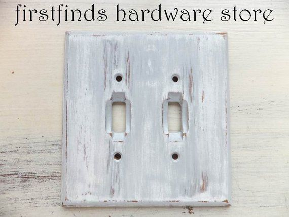 Double Switch Cover Grey And White Farmhouse Shiplap Painted Rustic Distressed Wood Electrical Light Plate Toggle Screws Included Cover Gray Switch Covers Electric Lighter