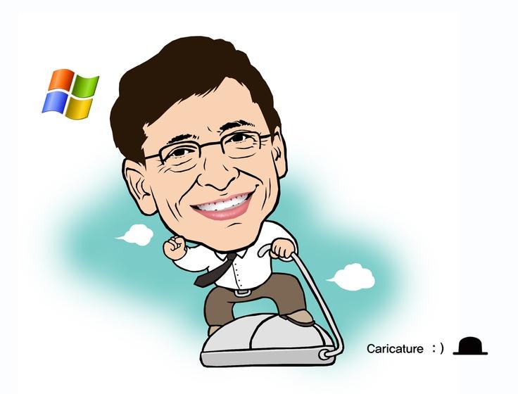 """윌리엄 헨리 게이츠 3세(William Henry Gates III, 1955년 10월 28일~)는 미국의 기업인이다. 빌 게이츠(Bill Gates)라는 이름으로 잘 알려져 있으며, 폴 앨런과 함께 세계적인 기업 마이크로소프트를 설립.  우철의 """"꿈과 희망을 주는 캐리커처"""" 시리즈 (여러분의 장래를 좌우하는 요인은 여러가지가 있지만, 그 중 가장 중요한 것은 바로 여러분 자신이다. - 프랭커 타이거)"""