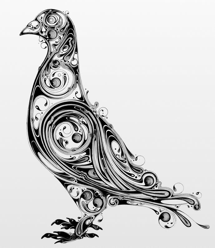 Unique Black Ink Pigeon Tattoo Design