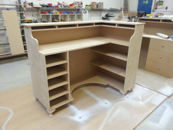 Shabby Chic corner Retail Reception desk, Hair beauty salon desk-raw MDF