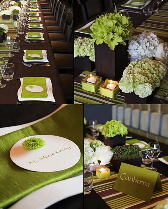 Fall Wedding Colors: Apple Green & Brown: Brown Weddings, Tables Sets, Green And Brown, Color Combos, Flower Centerpieces, Modern Weddings, Weddings Flower, Green Weddings, Weddings Color