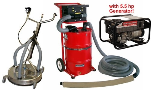 Vacuum reclaim system with vacuuming surface cleaner and 5 for Pressure washer cement cleaner