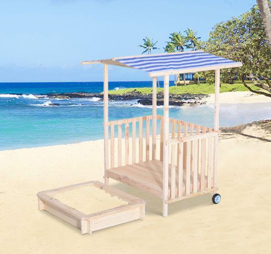 Best HOMCOM Sandkasten Spielhaus mit Dach