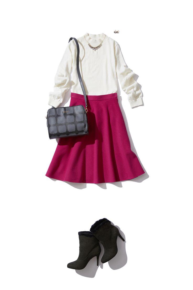 大人エレガントな鮮やかピンクのスカートは冬の白で優しく温かく。 http://bistroflowers.com/products/detail_1702_178_0.html