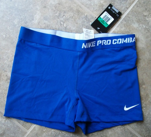 Womens Nike Dri Fit Pro Combat Compression Blue Shorts Boy Cut