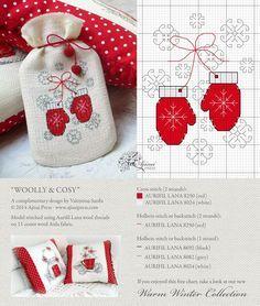 0 point de croix moufles - cross stitch winter gloves