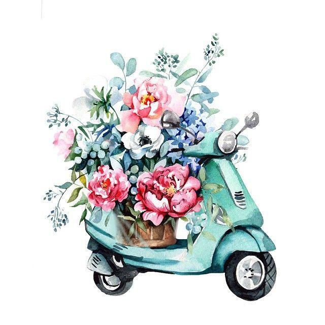 Открытки с цветами в авто