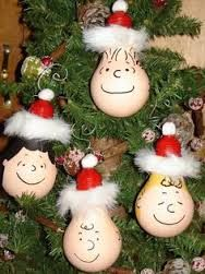 Recycled bulbs - Snoopy Christmas baubles.
