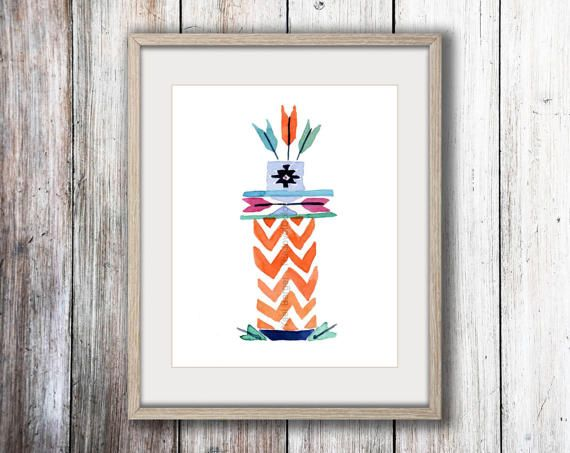 Totem 5 arrows art print, watercolor print ,kids room art, modern tribal art, geometric, nursery decor, Southwest print, boys room by TheJoyofColor