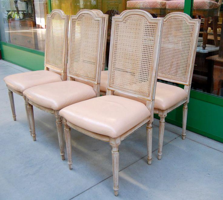 6 sedie in stile Luigi XVI in faggio laccate con schienale in paglia di Vienna
