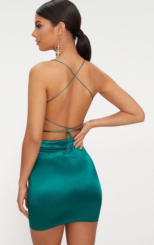 254e4bf6c26 Emerald Green High Neck Strappy Back Bodycon Dress