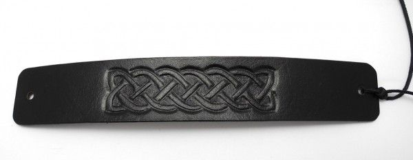 Handtooled and painted leather bracelet, celtic knot