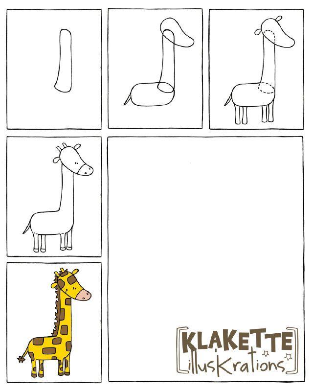 giraf tekenen met kleuters