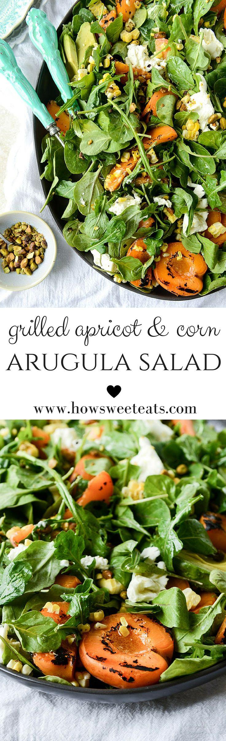 grilled apricot, sweet corn and arugula salad I howsweeteats.com