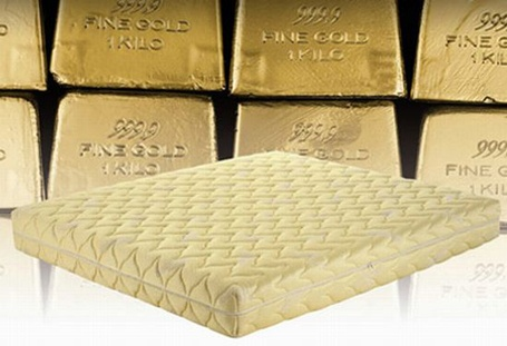 """Gold Dream: Italian mattress maker, Magniflex, is taking the concept of """"luxury sleeping"""" to a whole new level with a bedding line made out of the precious metals, gold and platinum."""