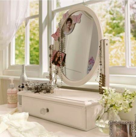 Add a touch of feminine elegance to any bedroom with this Lille dressing table mirror in an ivory finish.