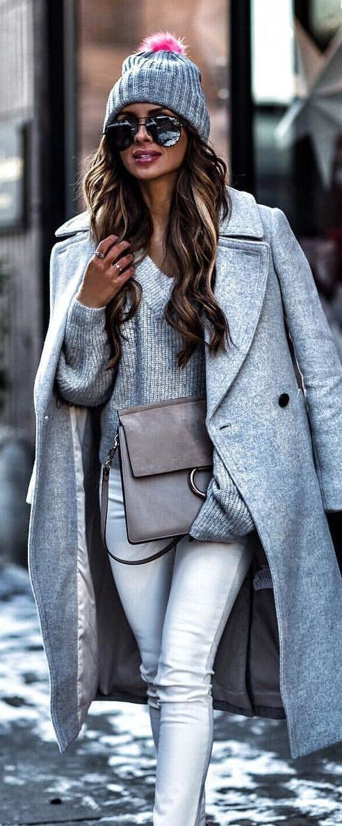 #winter #outfits grey coat and sweater with white jeans and knit cap