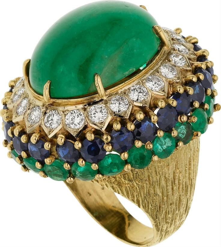 Emerald, Diamond, Sapphire, Gold Ring