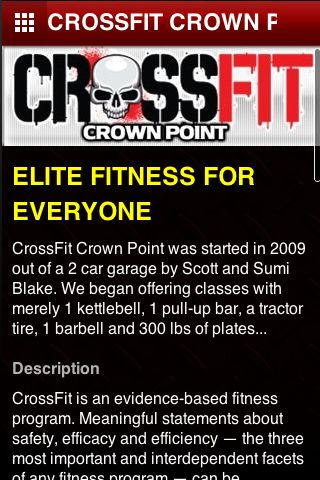 This CrossFit Crown Point App was designed for our members on the go.  Get the lates WOD Facebook postings, Video, News and Notifications from the gym.  Share it with friends who want to know more about this vigorous work out lifestyle. <p>CrossFit Crown